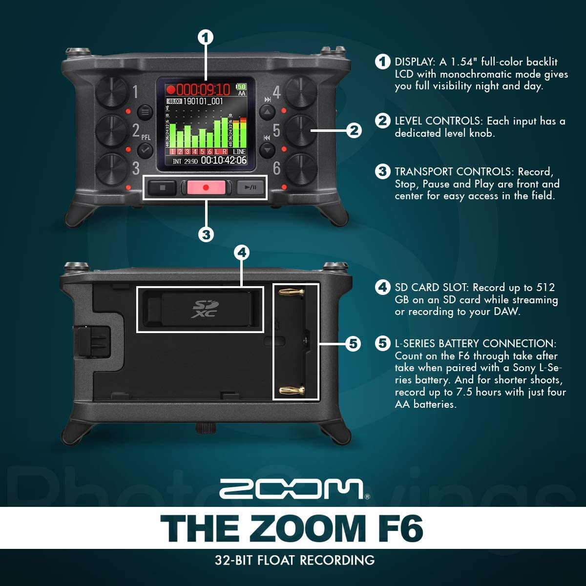 Zoom F6 6-Input / 14 Track Multi-Track Ultra-Compact Field Recorder + Q6 Dynamic Handheld Microphone and SR360 Over-Ear Dynamic Stereo Headphones with Deluxe Accessories Package: Amazon.es: Instrumentos musicales