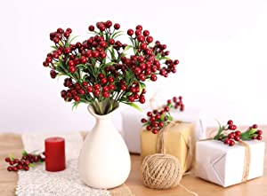 PARTY JOY 4PCS Artificial Berry Stems Holly Christmas Berries for Festival Holiday Crafts and Home Decor (Dark red, 4)