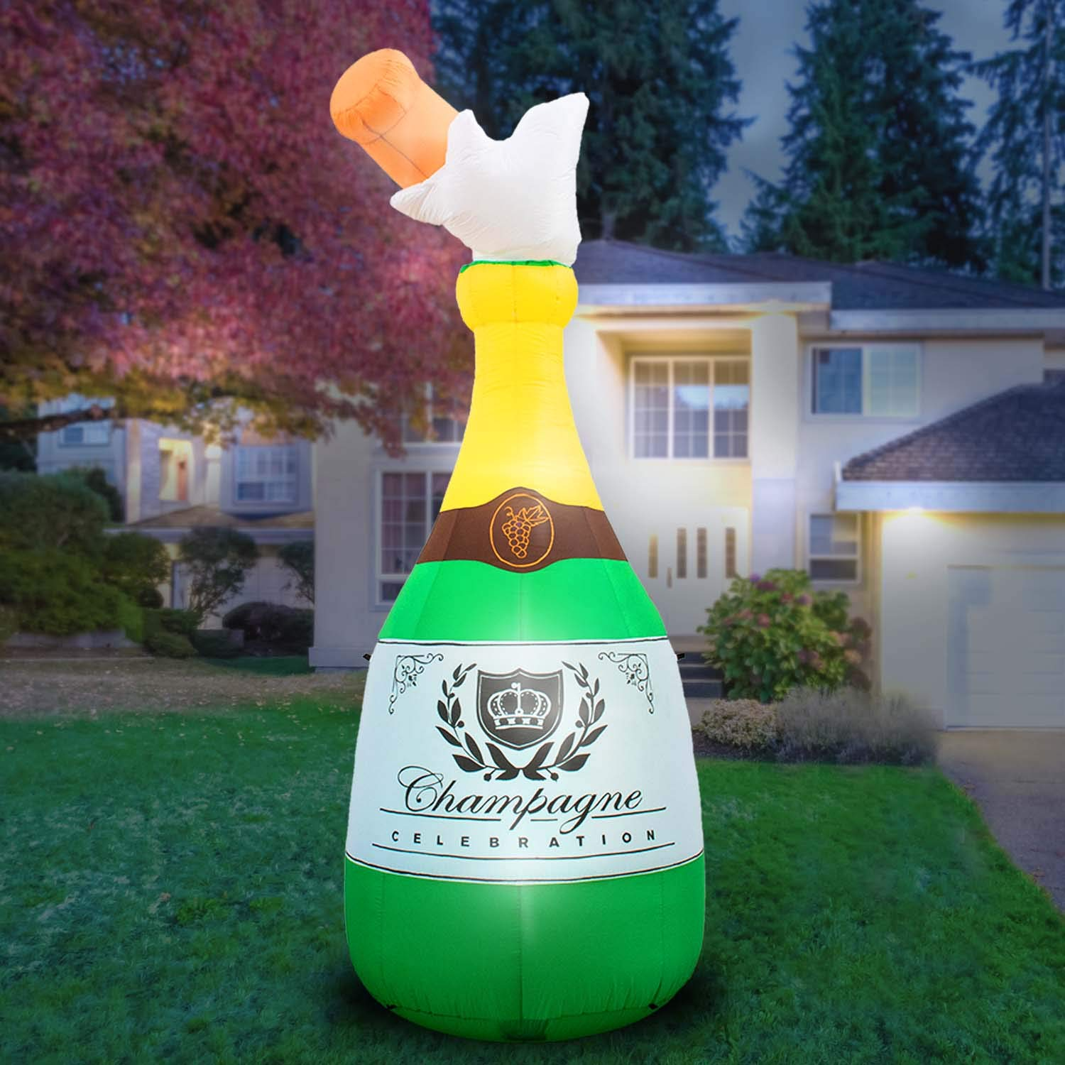 Holidayana 10-Foot Inflatable Champagne Bottle Decoration, Great for Parties and Events, Includes Built-in Bulbs, Tie-Down Points, and Powerful Built-in Fan