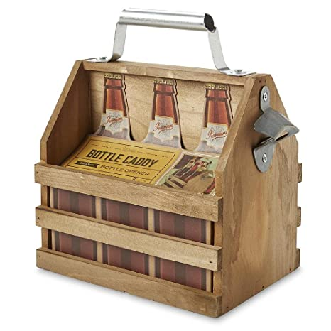 Refinery And Co Wooden Bottle Caddy Six Pack Beer Carrier With Built In Metal Bottle Opener Moisture Resistant Brew Holder Protect Up To 6 Bottles