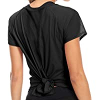 QUEENIEKE Womens' Yoga Tops Tied Up Mix & Mesh Short Sleeve T-Shirt Sports Tee Top