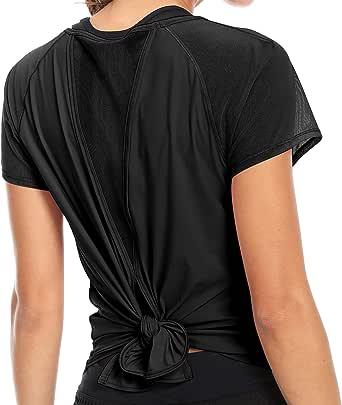QUEENIEKE Womens Yoga Tops Tied Up Mix & Mesh Short Sleeve T-Shirt Sports Tee Top
