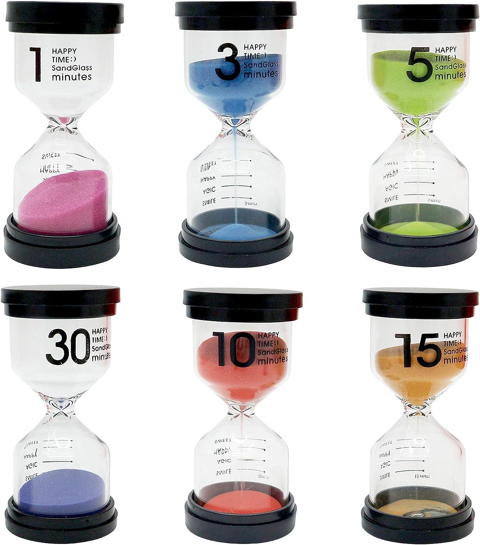 THE TWIDDLERS Paquete de 6 Relojes de Arena con Varios Tiempos - 6 Colores Surtidos minutero para el hogar - Aula - Cocina y Oficina - Temporizador Juego - Game Timer 1/3/5/10/15/30