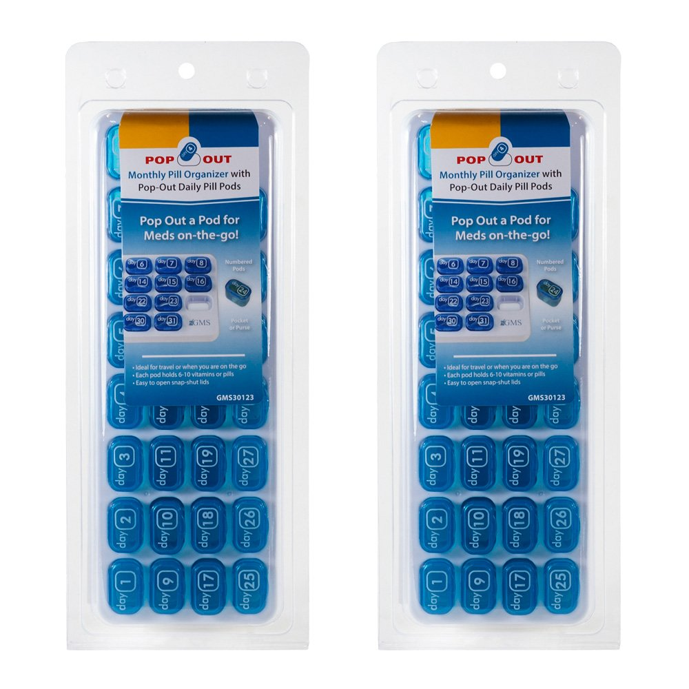 (2 Pack) GMS 31 Day Monthly Pill Organizer Tray with Daily Pop-out Pods