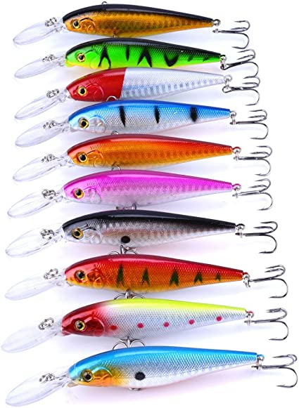 10 Colors Fishing Minnow Fishing Lures Baits Tackle Bass Outdoor Fishing