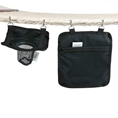 Sunnydaze Hanging Drink Holder and Tablet Device Holder, Outdoor Rope Hammock Accessory