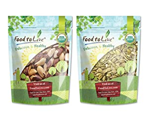 Organic Nuts Bundle with Organic Brazil Nuts, 1 Pound and Organic Pepitas / Pumpkin Seeds, 1 Pound — Raw, No Shell