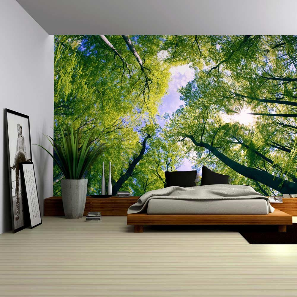 Sky View from Below a Tree Forest - Wall Mural, Removable