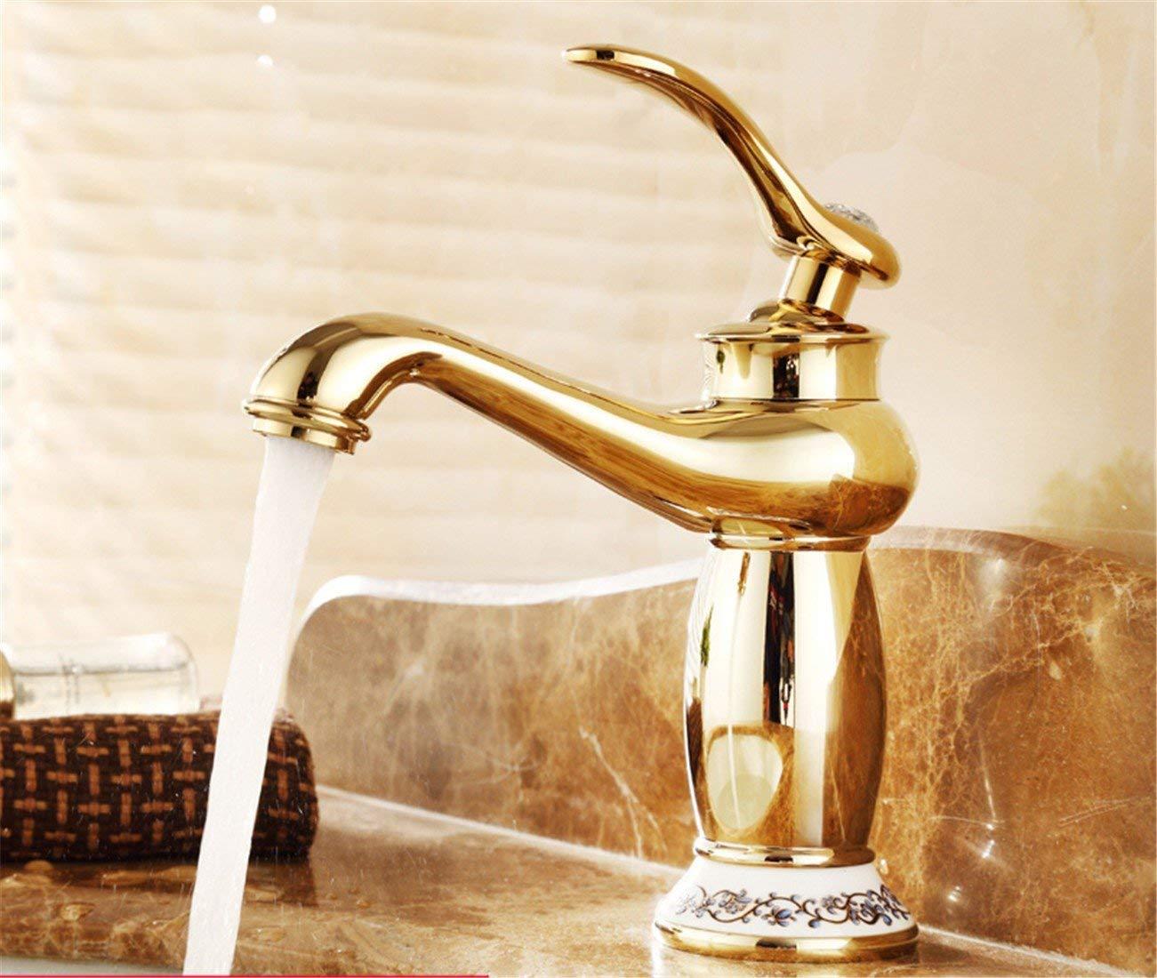 JingJingnet 黄金の蛇口ホットとコールドコンチネンタル銅浴室の蛇口すべて高青タイルテーブルトップ盆地ゴールドメッキアンティーク蛇口 (Color : 1) B07S3QSGRY 1