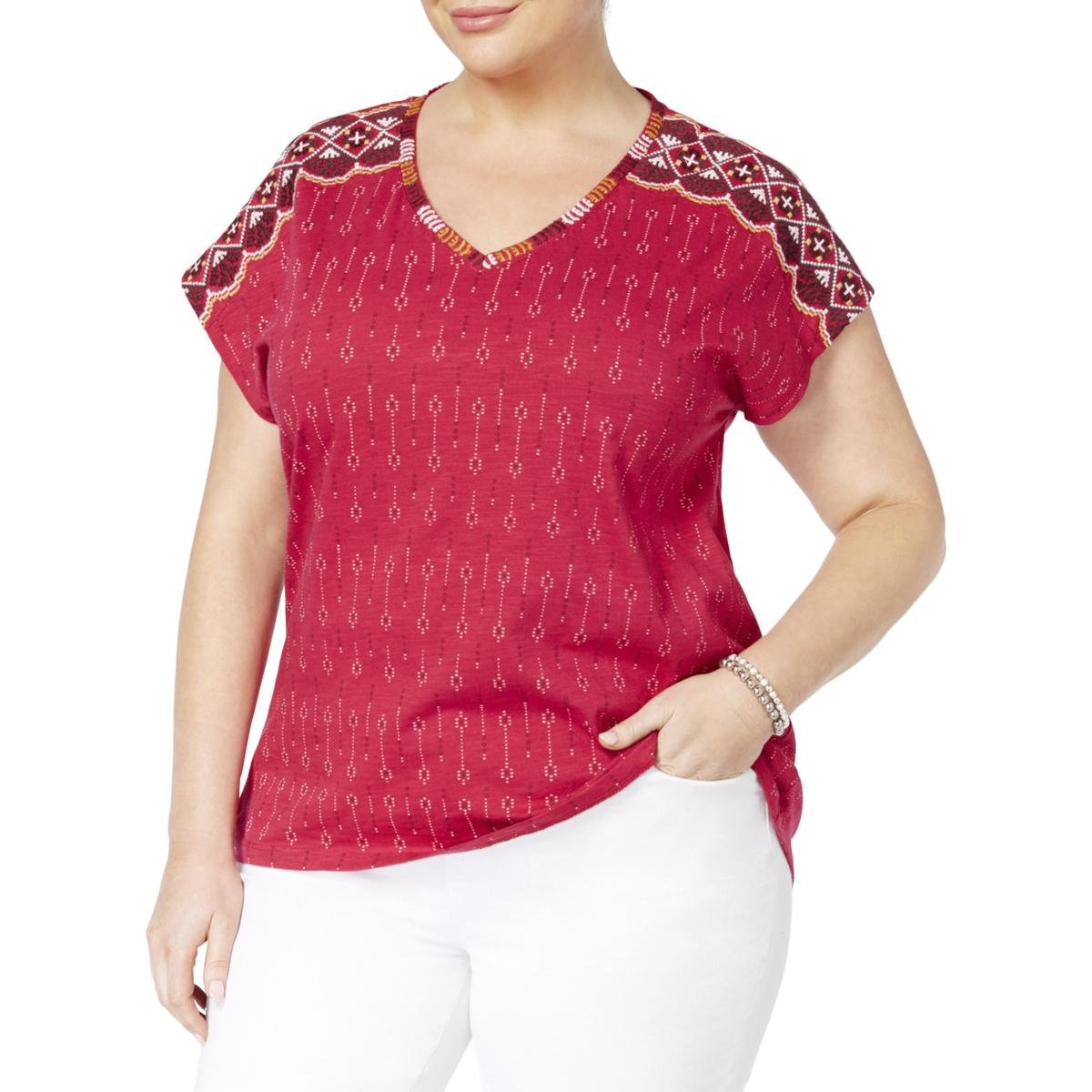 Style & Co. Womens Plus Embroidered Printed Casual Top Pink 1X