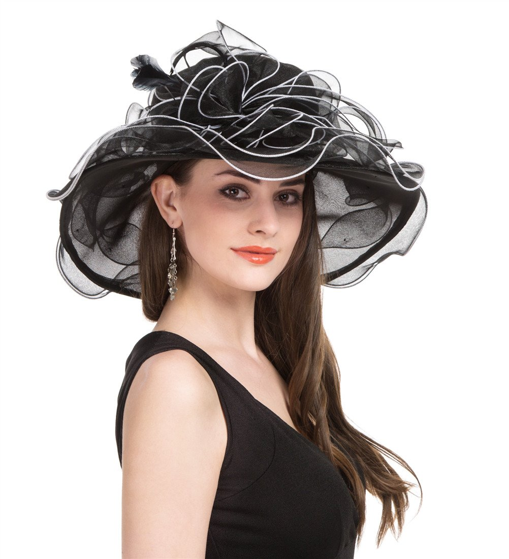 SAFERIN Women's Organza Church Kentucky Derby Fascinator Bridal Tea Party Wedding Hat (GZ-Black White Line)