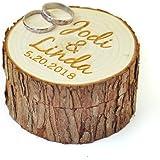 Personalized Wood Wedding Ring Box with Name & Date,Wedding Ring Bearer, Custom Rustic Wedding Ring Box