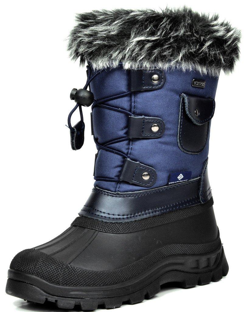 DREAM PAIRS Little Kid Ksnow Navy Isulated Waterproof Snow Boots - 3 M US Little Kid