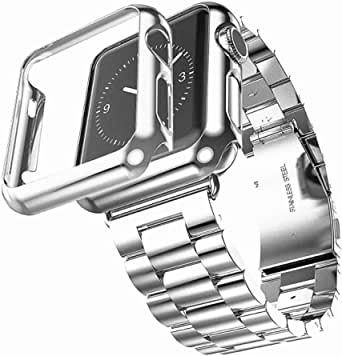 Metal link band with TPU case for Apple watch 42mm, Metal Link Bracelet with Double Button Butterfly Flip Closure + Soft durable TPU Screen protector compatible for iWatch 42mm, Silver