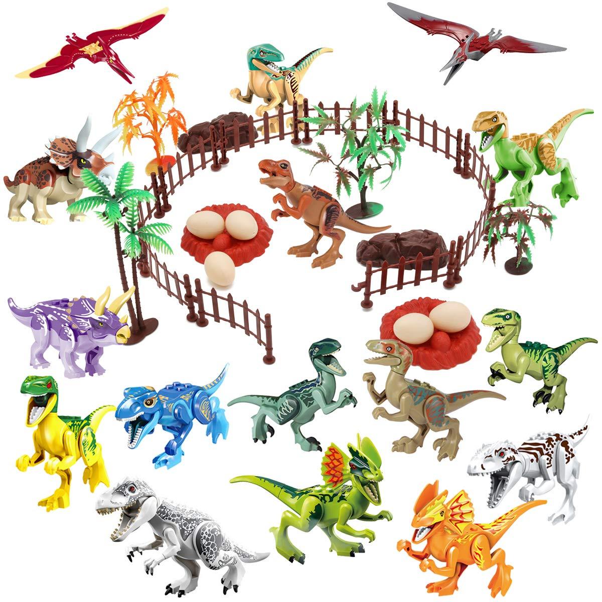 Winrase DIY Dinosaur Building Blocks Toys Set 16pcs Buildable Jurassic Predator Herbivore Dinosaur Building Blocks Figures with Movable Jaws and 23pcs Dinosaur Scene Configuration Park