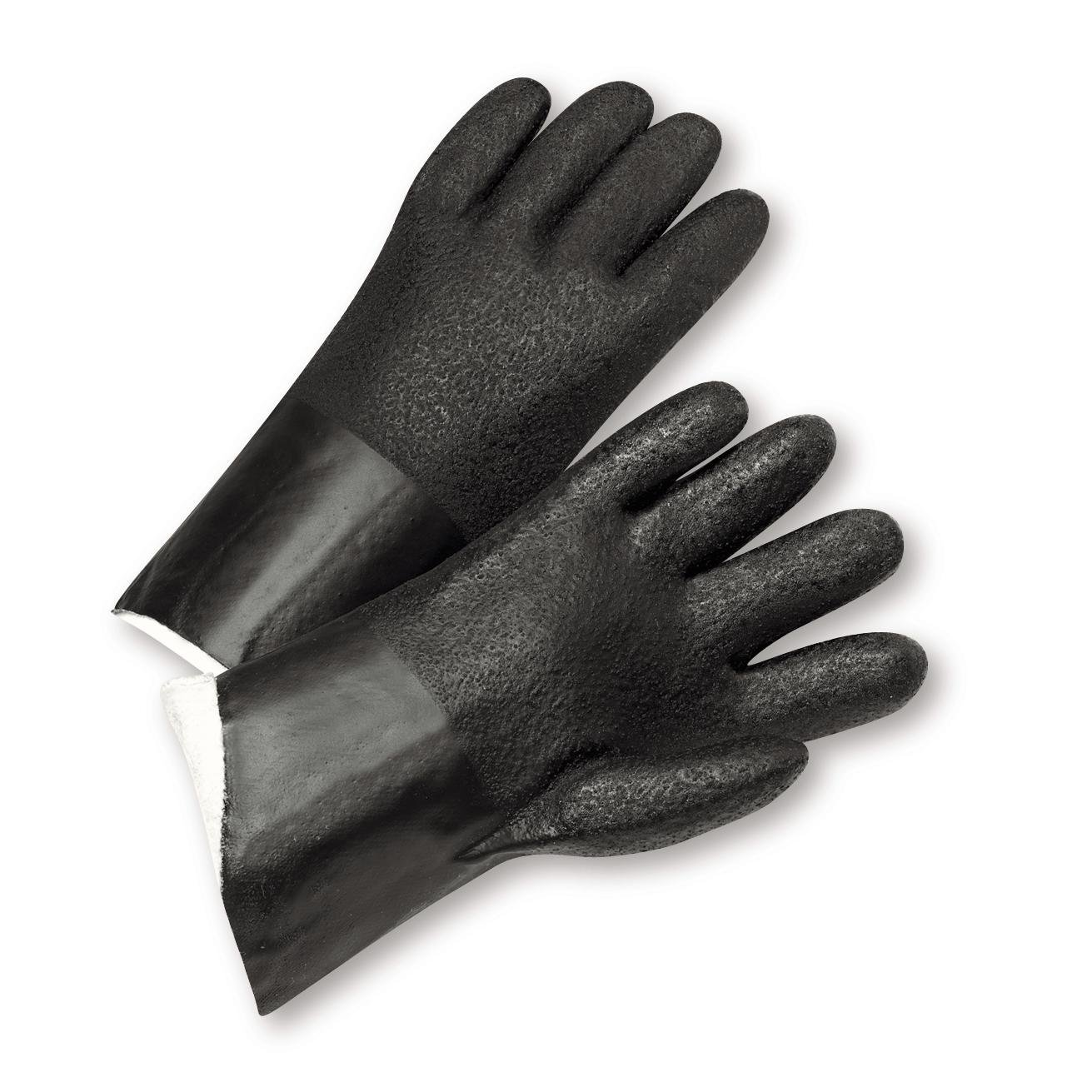 Pack of 12 West Chester J210 Standard Acid Grip PVC Jersey Lined Gloves Size 10 Black
