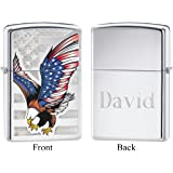Personalized Zippo Eagle Flag High Polish Chrome Lighter with Free Engraving
