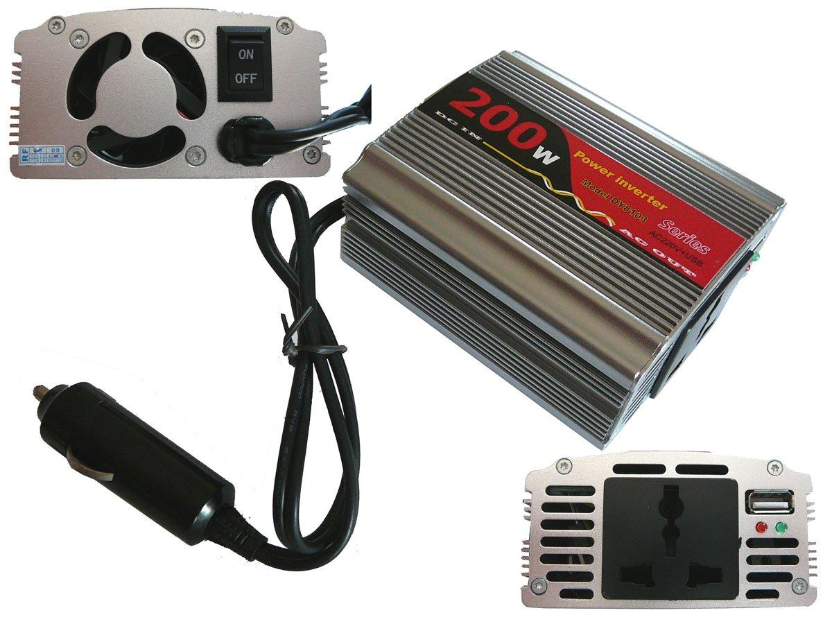 corpo in alluminio Trasformatore di tensione da 12V a 220V Kalea Informatique 200 W per accendisigari da auto invertitore AC - DC 400 W di picco
