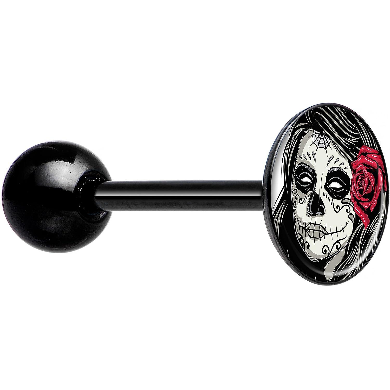 Body Candy Black Anodized Steel Katrina Sugar Skull with Rose Barbell Tongue Ring CUTO-BK-834