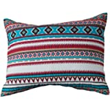 Rod's Montana Southwestern Horse Pillow Sham Turquoise, Aztec Pattern with White, red, and Natural Colors Opposite Side…
