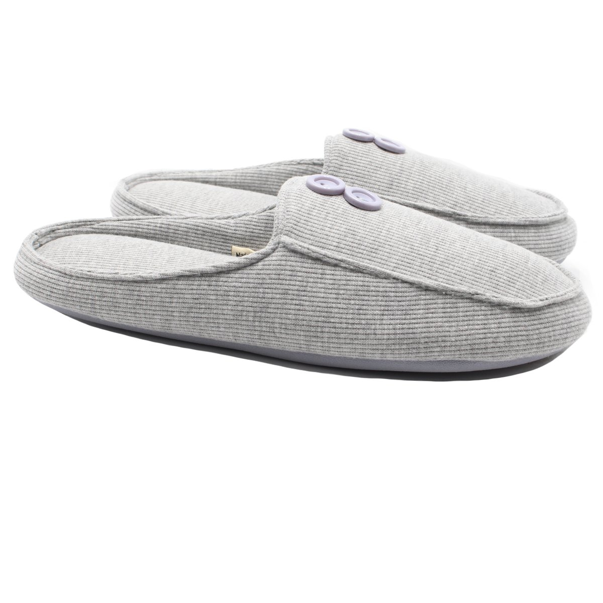 Ofoot Women's Memory Foam Indoor Slippers,Organic Cotton Closed Toe,Anti-Slip TPR Sole with Buttons(9-10 B(M) US, Grey)