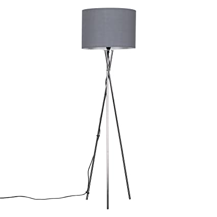 Modern Brushed Chrome Metal Tripod Floor Lamp With A Grey Cylinder Shade by Mini Sun