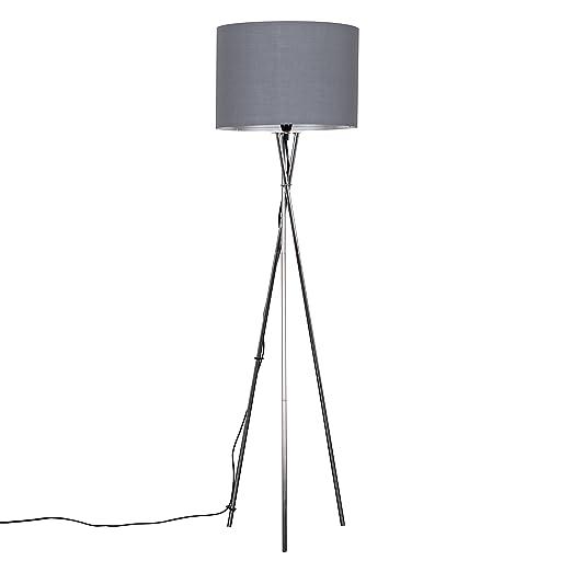 9cb2c14214 Modern Brushed Chrome Metal Tripod Floor Lamp with a Grey Cylinder Shade:  Amazon.co.uk: Lighting