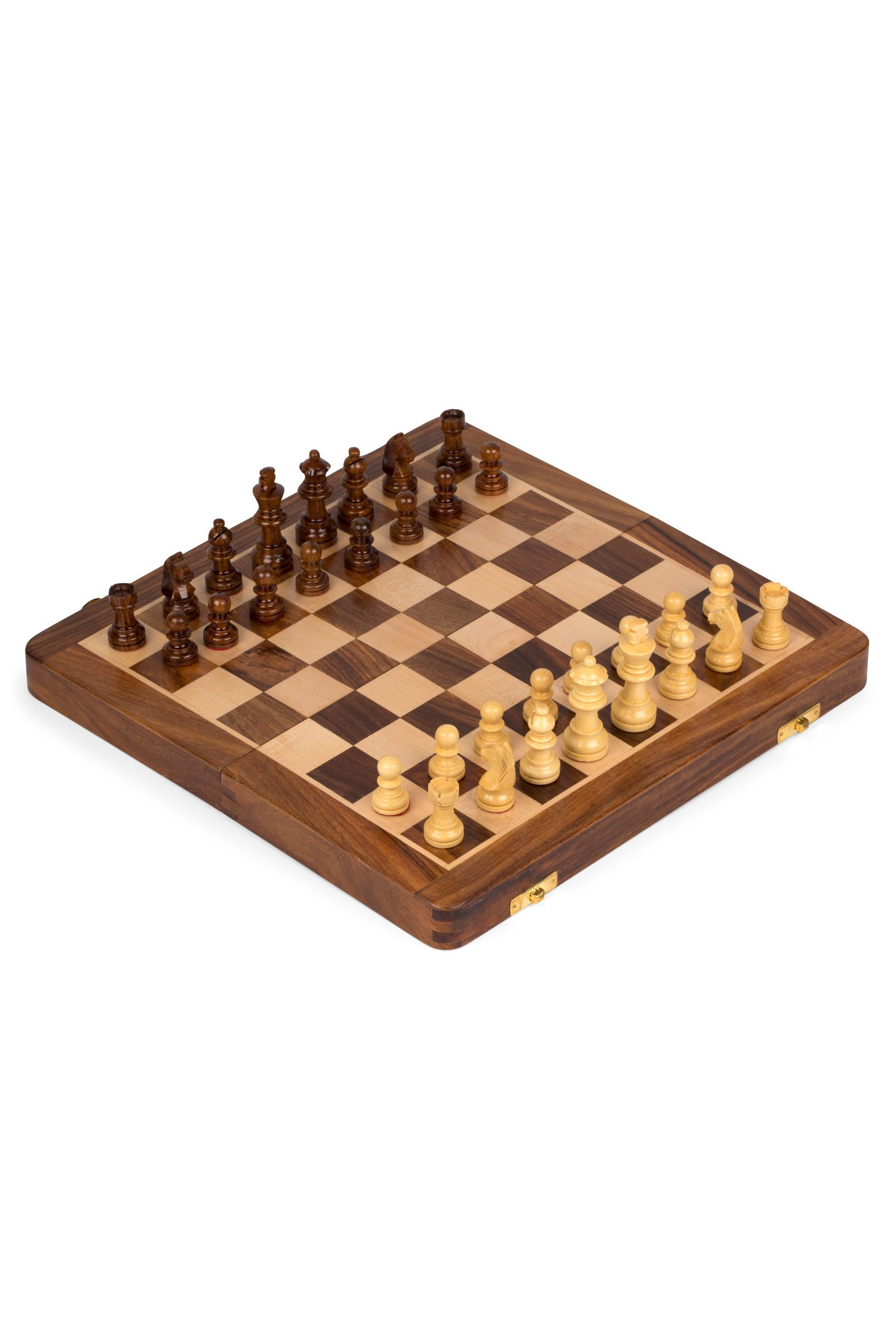 Wood Chess Set With Folding Carrying Board 'Store Away Chess Set'