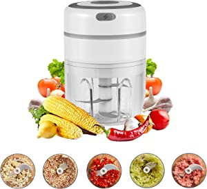 Electric Mini Garlic Chopper, Garlic Press Mincer Pepper Chili Vegetable Nuts Meat Grinder,Food Processor Mincer Blender Mixer with 3 Sharp Blades Grinder for Baby Food Salad