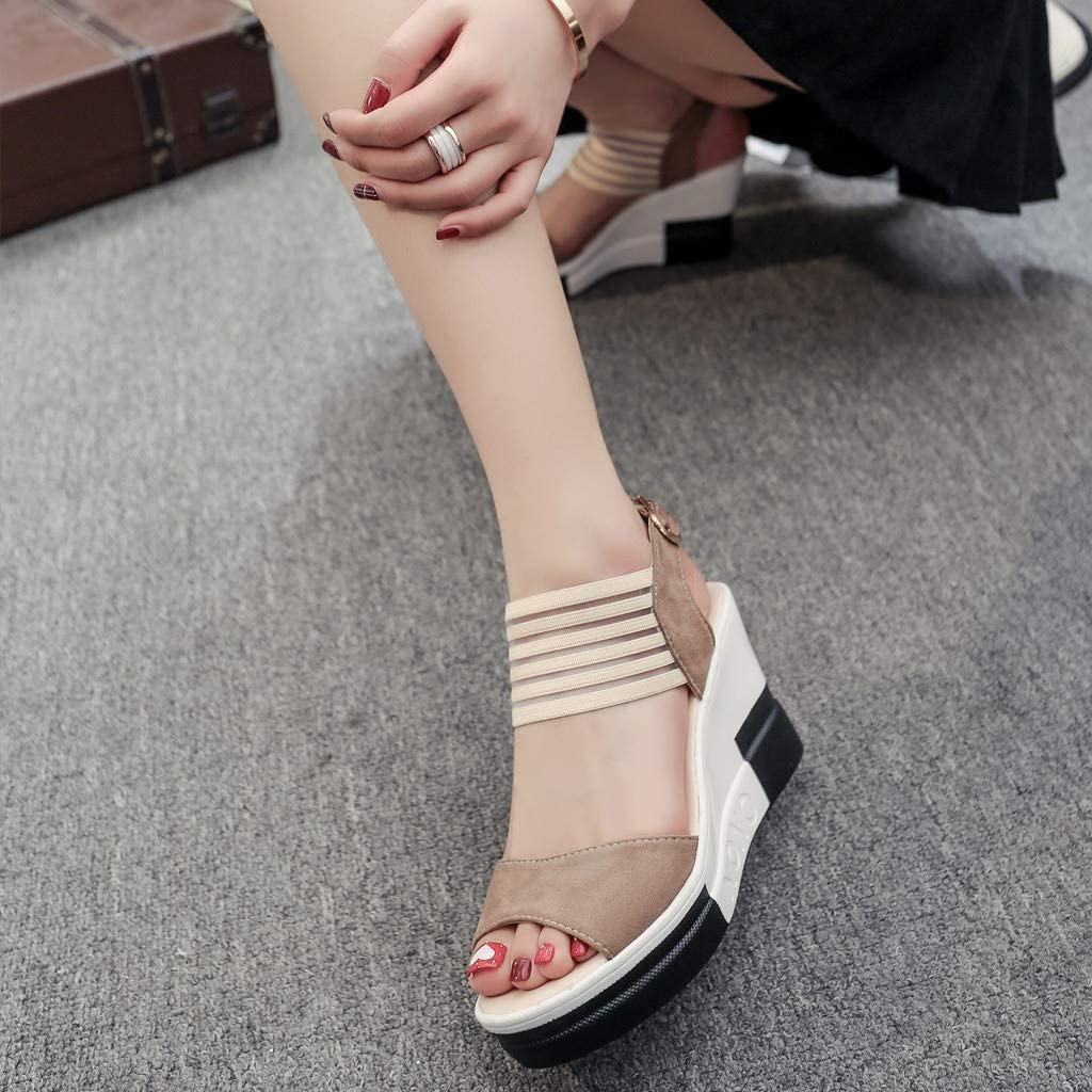OrchidAmor New Women Casual Wedge Shoes Belt Buckle High Heel Shoes Fashion Fish Mouth Sandals