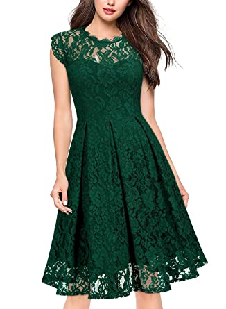 5e9351a6a2d8 Miusol Women's Retro Floral Lace Slim Evening Cocktail Party Dress (Small,  C-Green
