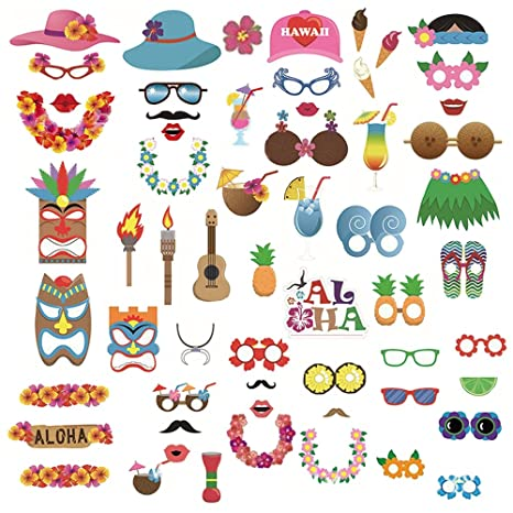 Portafotos personalizable Luau Hawaiian Photo Booth Prop Kit para Bachelorette Fiesta Boda Graduación Tropical Verano Piscina