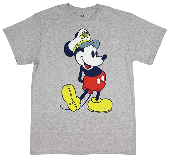 f4225929b275b Disney Mickey Mouse T Shirt Captain Hat Mick Men s Cartoon Character Tee  Medium