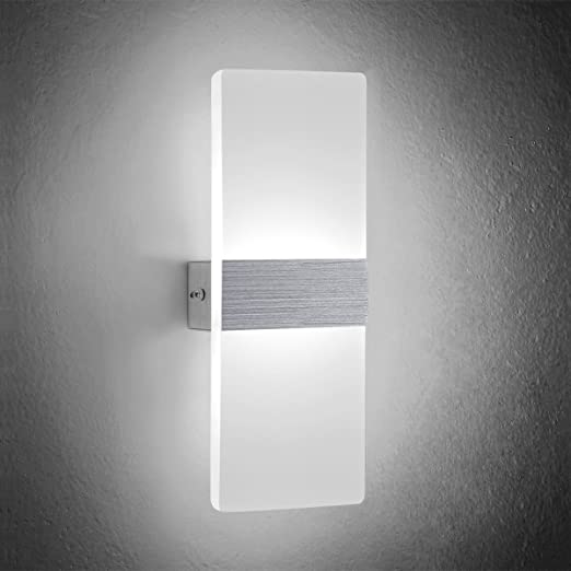 NetBoat LED Wall Light 6W Cool White Modern Acrylic Wall Lamp White Wall  Sconce Lights Night
