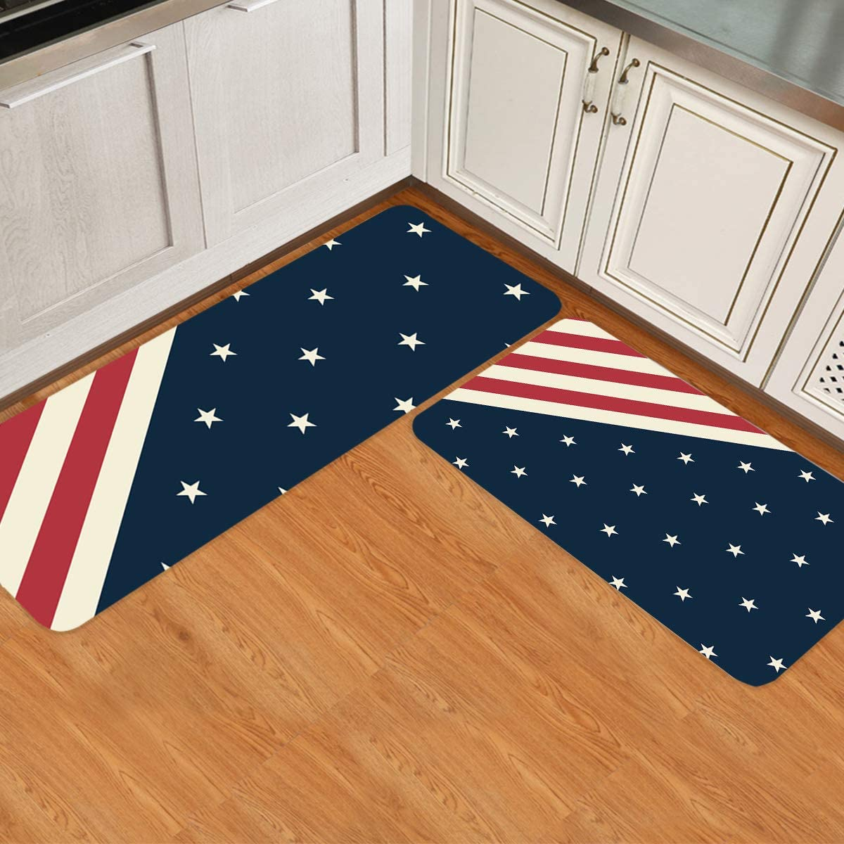 ARTSHOWING American Flag Decor Kitchen Rugs and Mats Set of 2, Non Slip and Durable Comfort Floor Mat for Home Sink Laundry Office Use, Nice Gift - Stripes and Stars Pattern