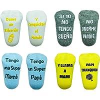 Cincobebé Juego de Calcetines Antideslizantes para Bebé/Recién Nacido,con Frases en Español Divertidas Lindas,Apto para…