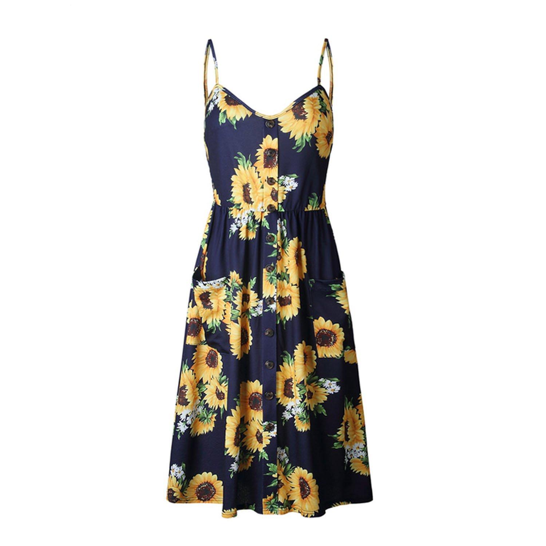 Aprons Sunflower Print Summer Dress Women Casual V Neck Backless Plus Size  Sundresses