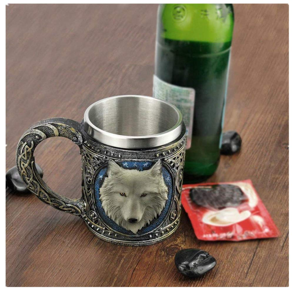 Amaping 3D Wolf King Head 450 ml Pattern Mug Retro Resin Stainless Steel Coffee Tea Cup (Wolf King Head)