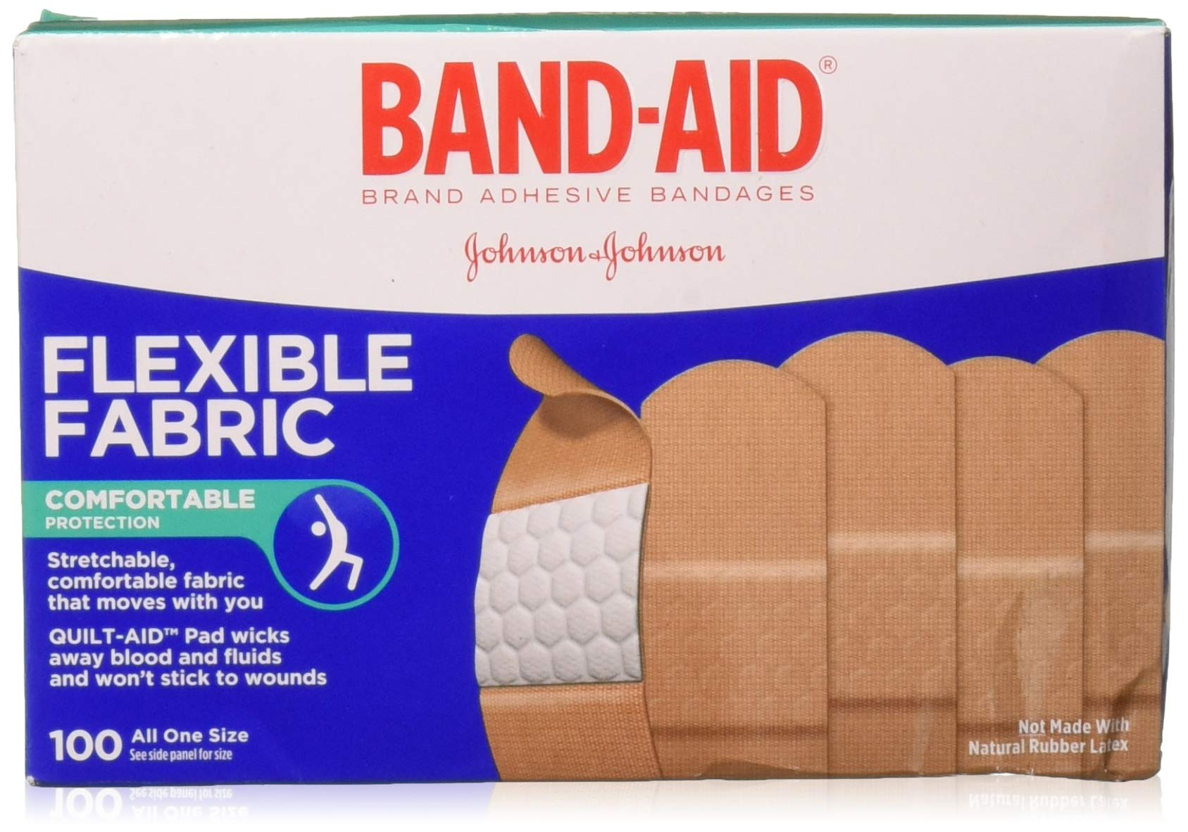 Band-Aid Adhesive Bandages, Flexible Fabric, All One Size 1 X 3, 100 Count (Pack of 3) by Band-Aid by Band-Aid