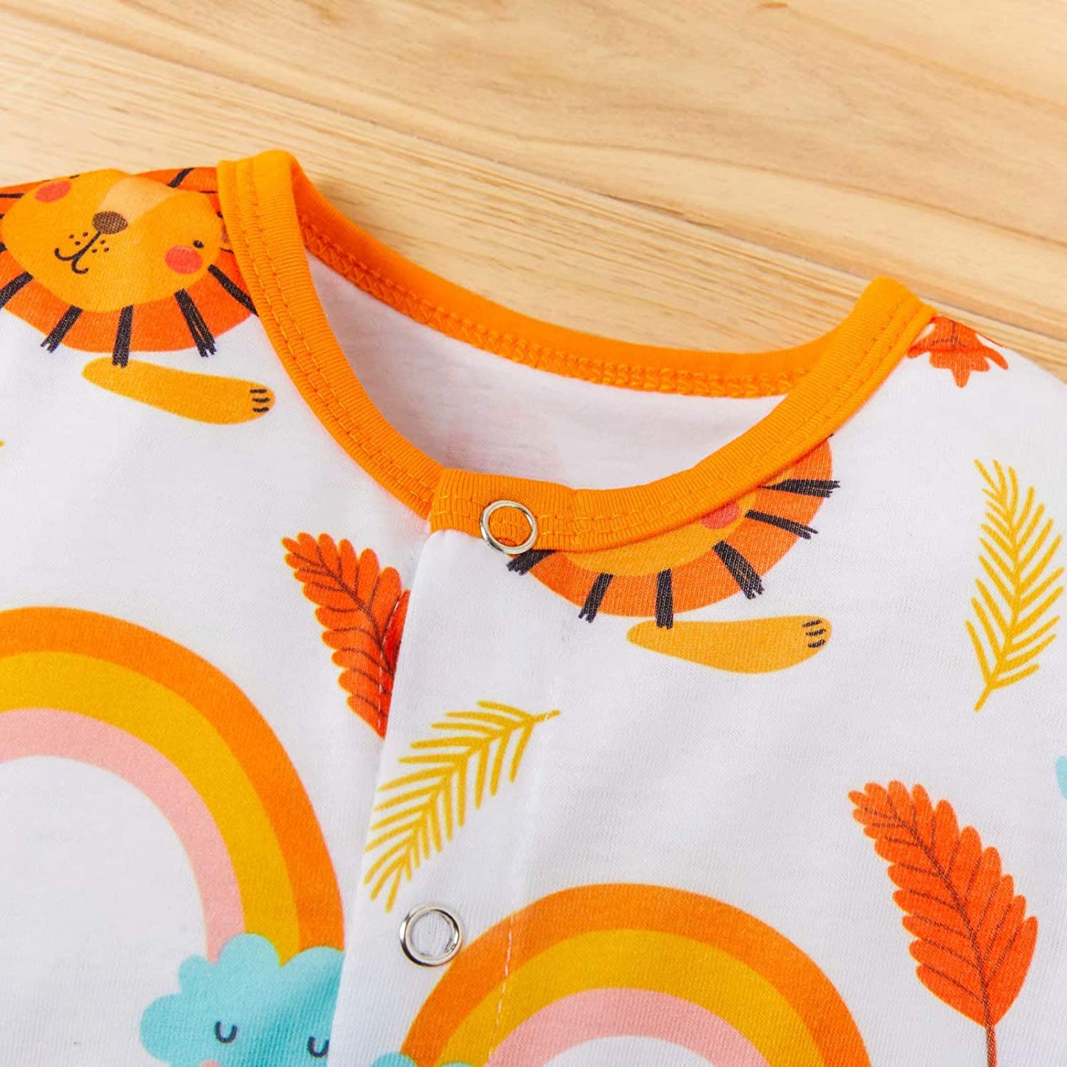 IFFEI Baby Long Sleeve Romper Cartoon Lion Rainbow Printed Jumpsuit Outfit for Toddler Girls Boys