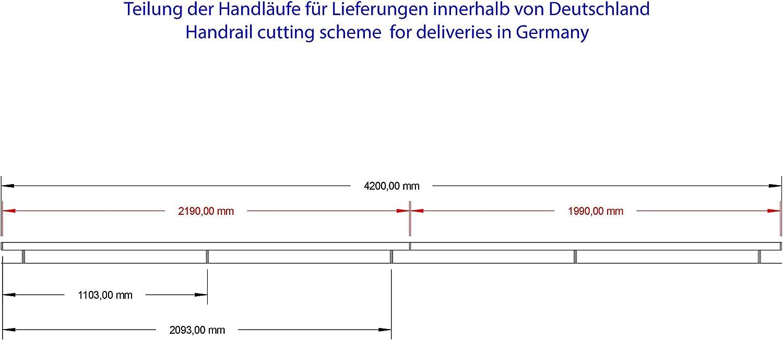 Rambarde en acier inoxydable Rambarde polie avec des extr/émit/és l/ég/èrement incurv/ées 3500 mm