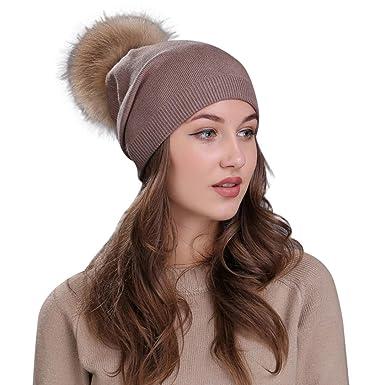 Winter Girls Women Chunky Soft Cable Knit Faux Fur Pom Pom Soft Beanie Hat  Cap 8fbb6c2b81f