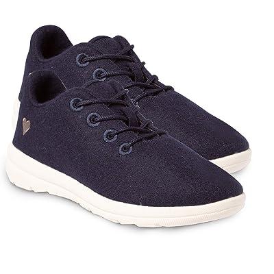 Soft Comfort Shirlee Women's Wool Lace Up Low Cut Sneaker Walking Shoe with Memory Foam Insole, Heart Decal | Walking