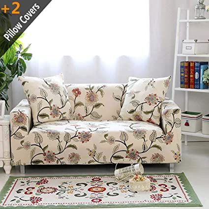 Iisutas Stretch Couch Covers Sofa Slipcovers Fitted Cover Seat Furniture  Protector With Two Pillow Case (