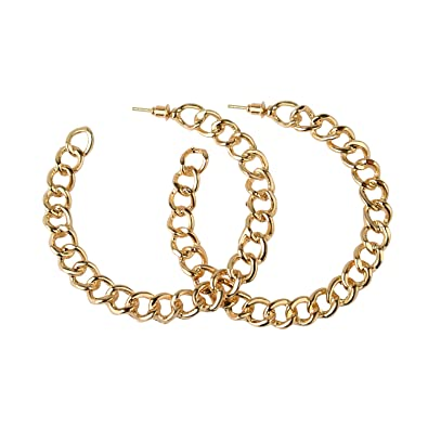Front Row Gold Colour Chain Link Hoop Earrings RR6RnPaymx