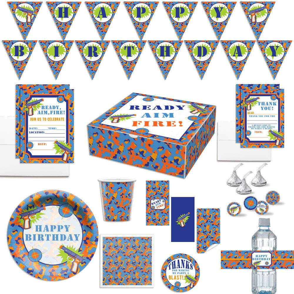 Premium Dart Gun Birthday Party in a Box for Boys, Complete Party Decoration Set for 10 Guests. Includes Invitations, Thank You Cards, Stickers and More. Over 350 Pieces by AmandaCreation