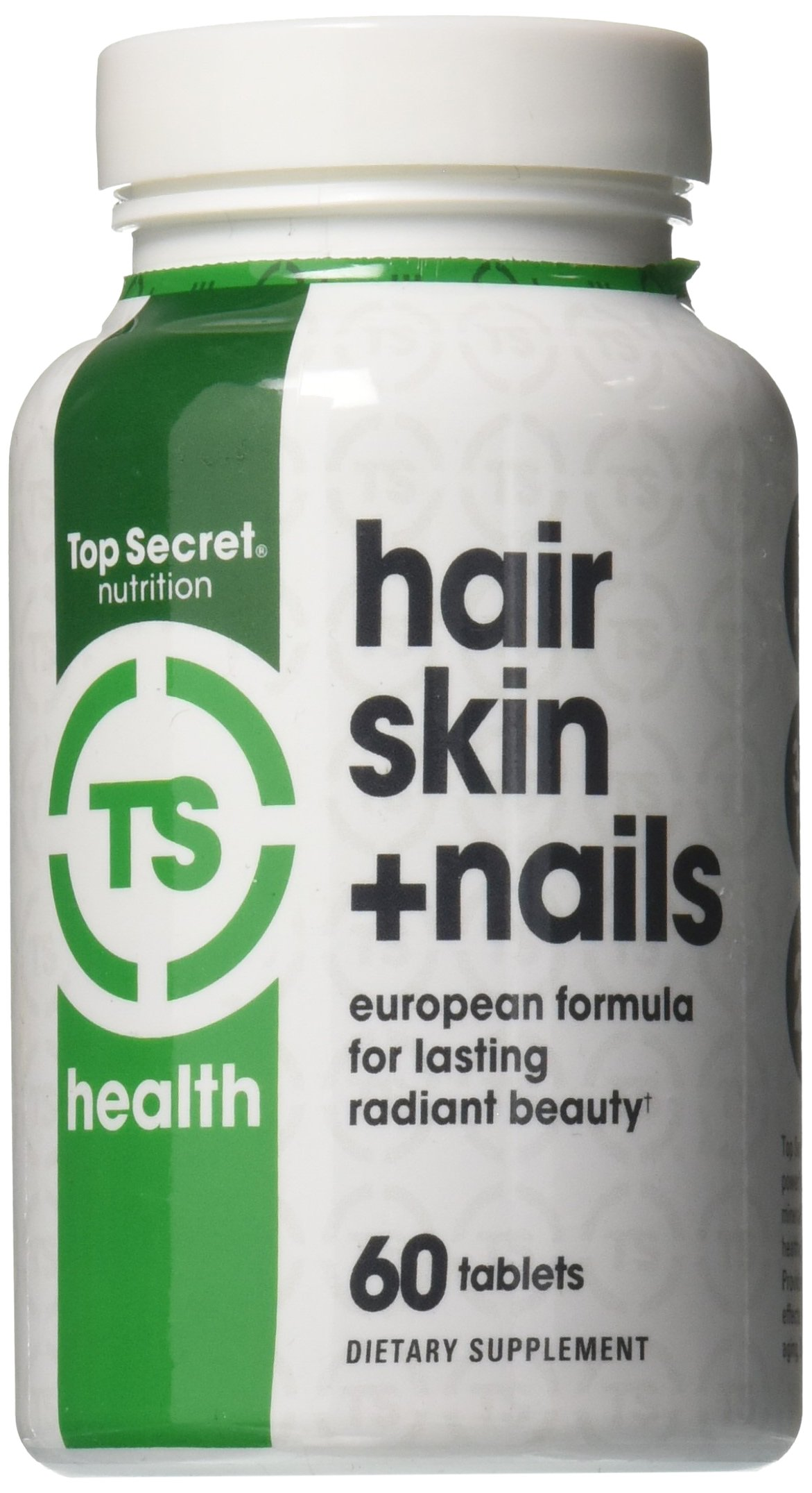 Top Secret Nutrition Hair Skin & Nails European Formula of 29 Anti-aging Vitamins and Minerals and Phytonutrients with Collagen, Biotin and Hesperidin, 2-month supply (60 tabs)