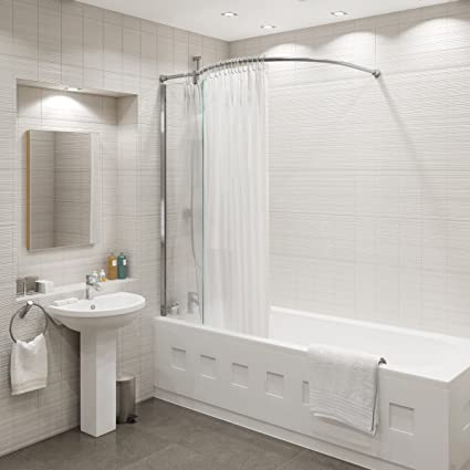Kudos Inspire Over Bath Shower Panel With Curved Curtain Rail