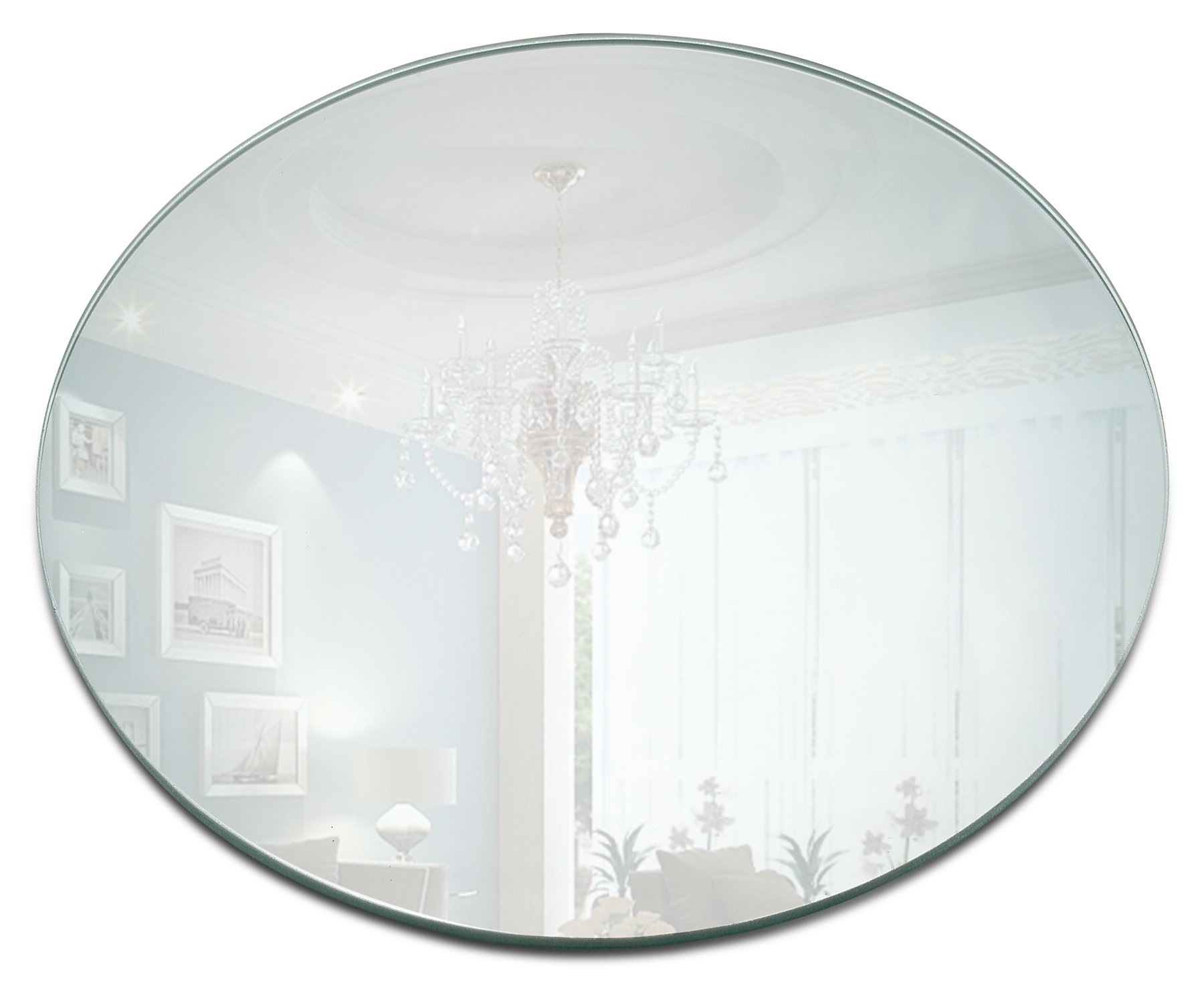 Round Mirror Candle Plate Set - Box of 12 Mirror Trays - 10 inch Diameter, 1.5 mm Thick Rounded Edge - Round Mirror for Centerpieces, Wall Décor, Crafts