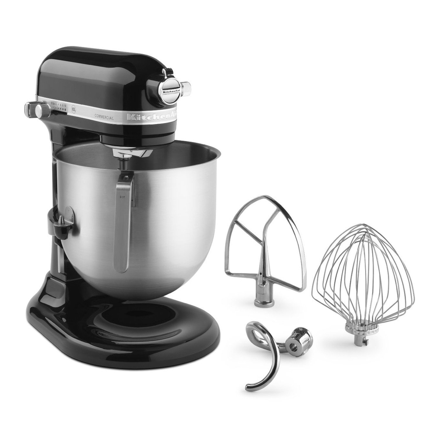 KitchenAid KSM8990OB 8-Quart Commercial Countertop Mixer, 10-Speed, Gear-Driven, Onyx Black